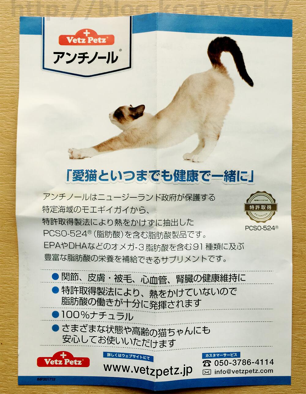 猫用 アンチノール チラシ